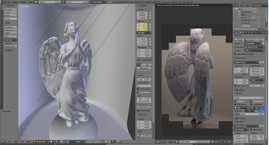 Скульптура статуи ангела royalty-free 3d model - Preview no. 2