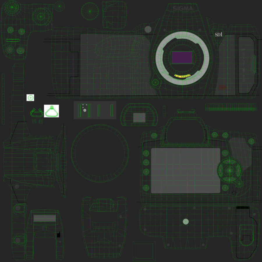 Sigma SD1 Merrill DSLR-kamera royalty-free 3d model - Preview no. 8