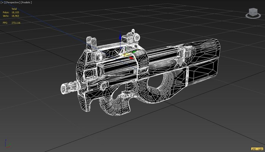 FN P90 Military Gun royalty-free 3d model - Preview no. 4