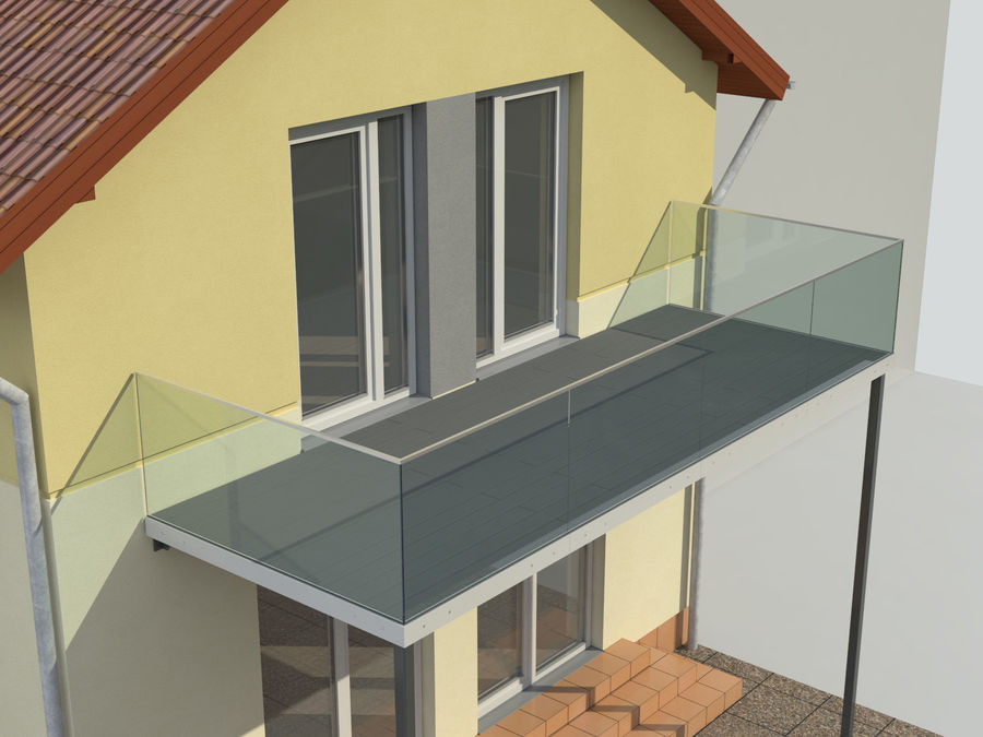 Balcony royalty-free 3d model - Preview no. 4