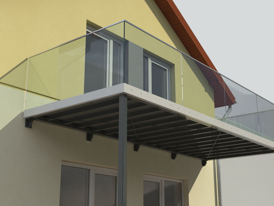 Balcony royalty-free 3d model - Preview no. 3