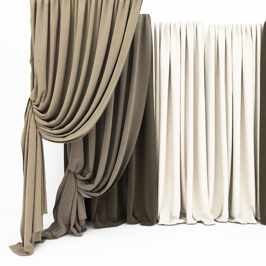 Curtain collection 06 royalty-free 3d model - Preview no. 2