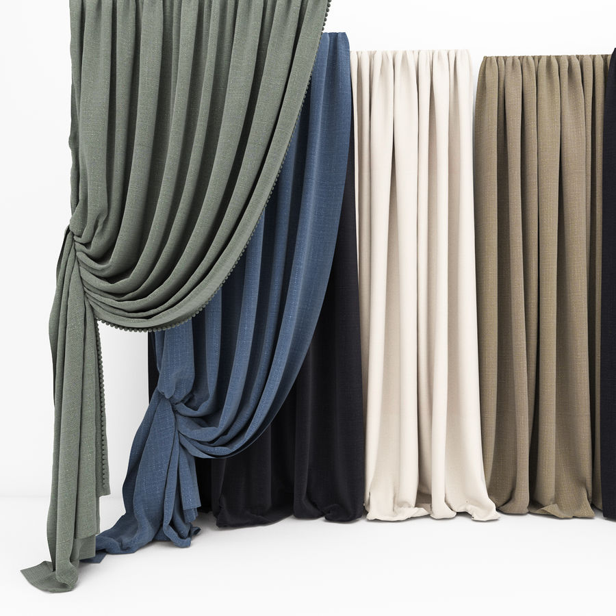Curtain collection 06 royalty-free 3d model - Preview no. 4