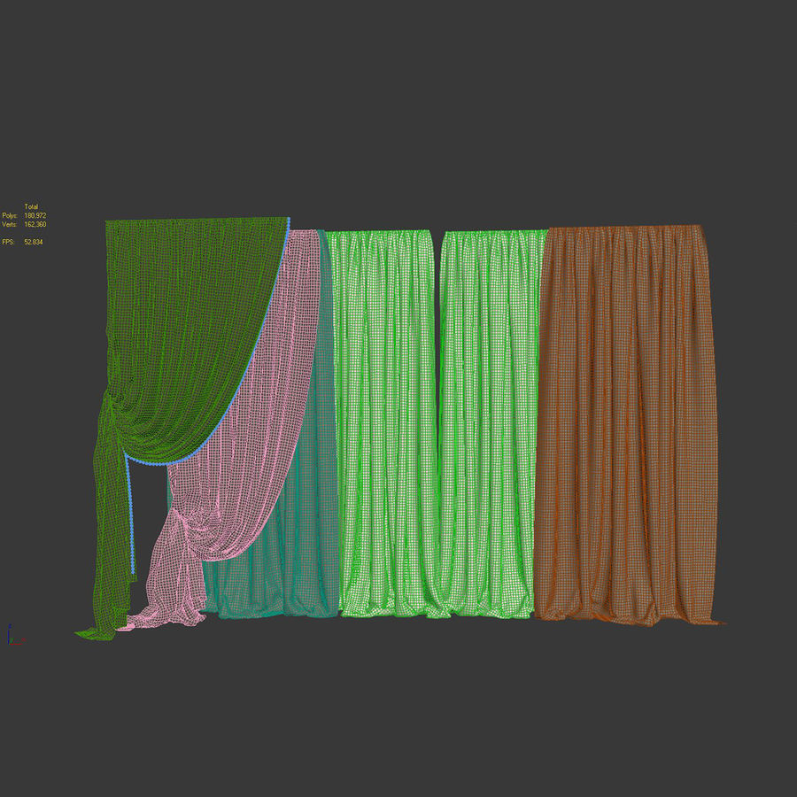Curtain collection 06 royalty-free 3d model - Preview no. 14