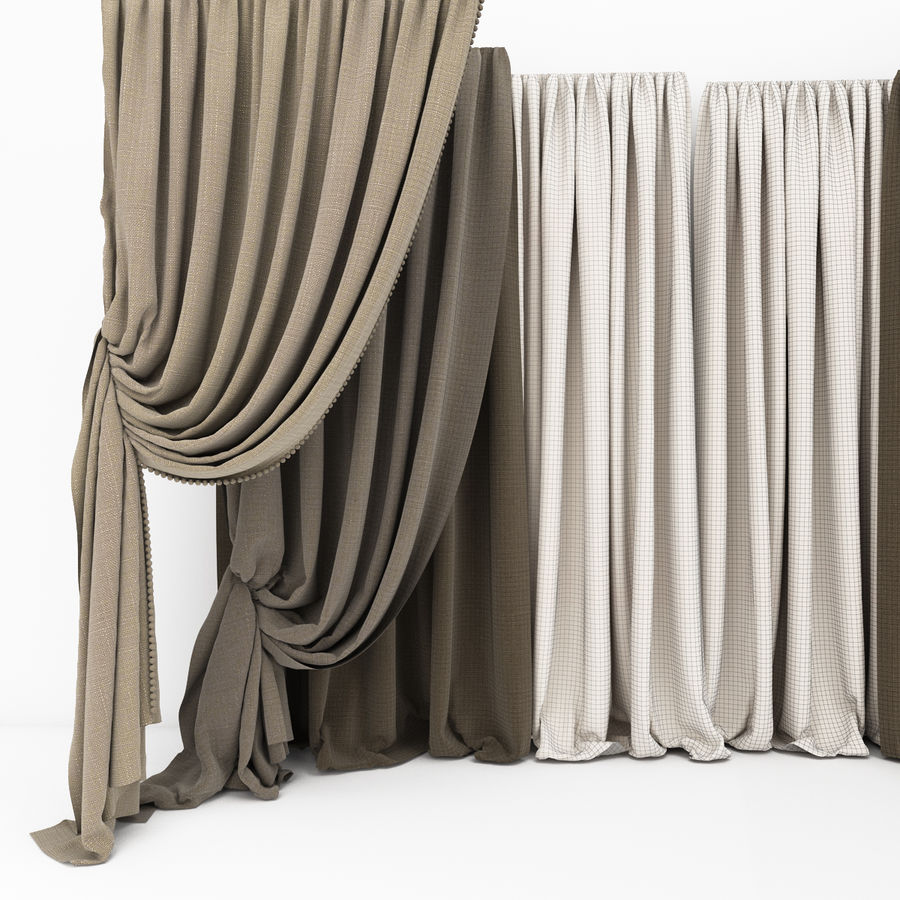 Curtain collection 06 royalty-free 3d model - Preview no. 5