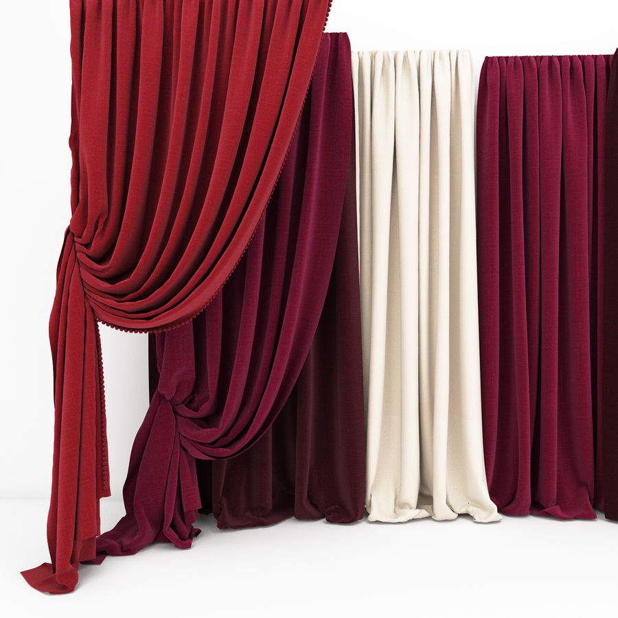 Curtain collection 06 royalty-free 3d model - Preview no. 3