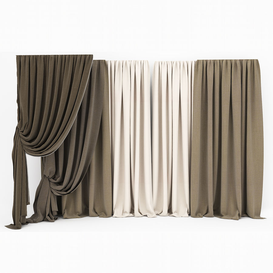 Curtain collection 06 royalty-free 3d model - Preview no. 7