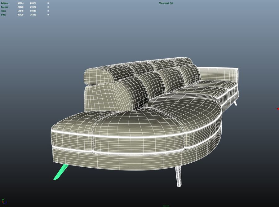 Soffa 5-sits royalty-free 3d model - Preview no. 9