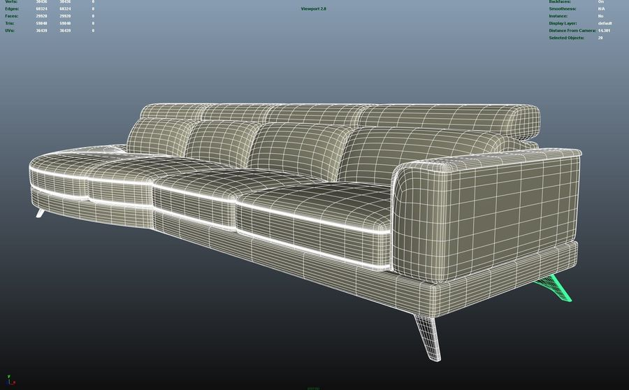 Soffa 5-sits royalty-free 3d model - Preview no. 8