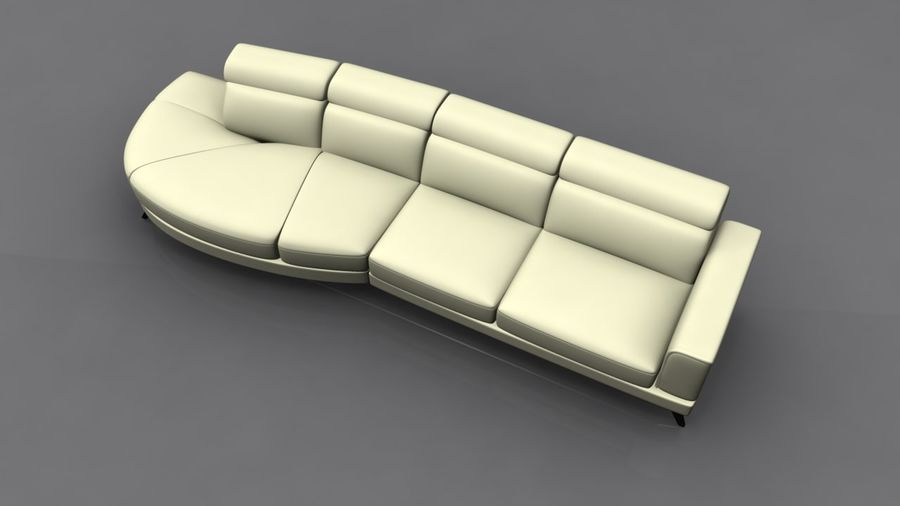 Soffa 5-sits royalty-free 3d model - Preview no. 5