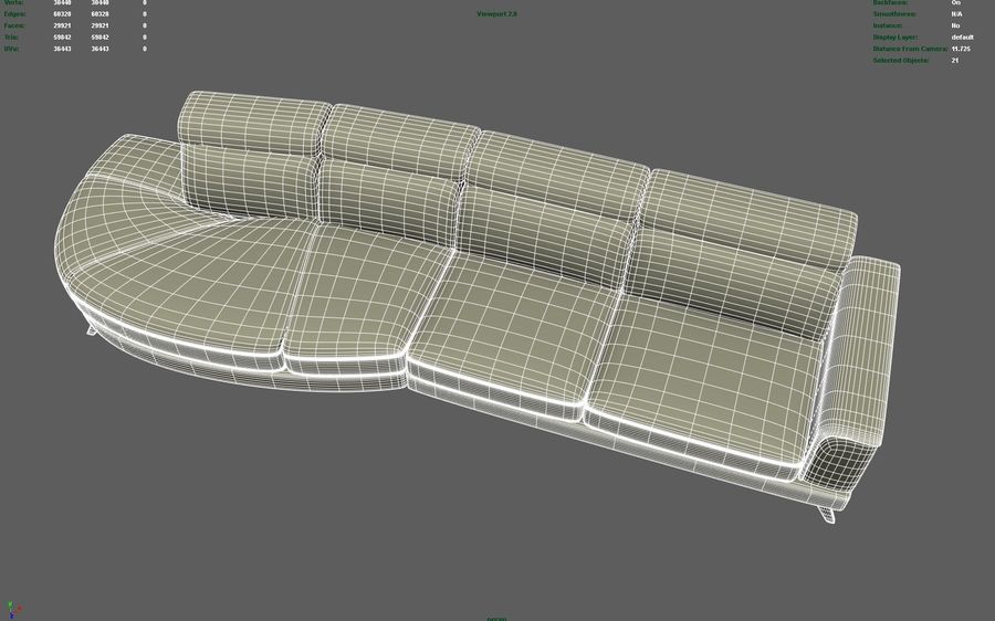 Soffa 5-sits royalty-free 3d model - Preview no. 6