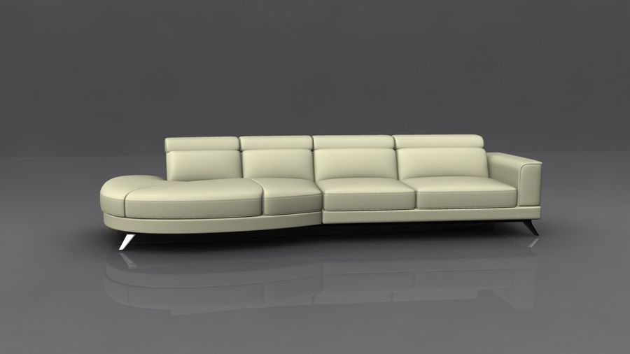 Soffa 5-sits royalty-free 3d model - Preview no. 2