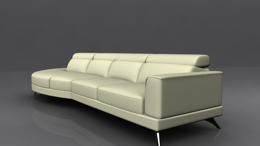 Soffa 5-sits royalty-free 3d model - Preview no. 3