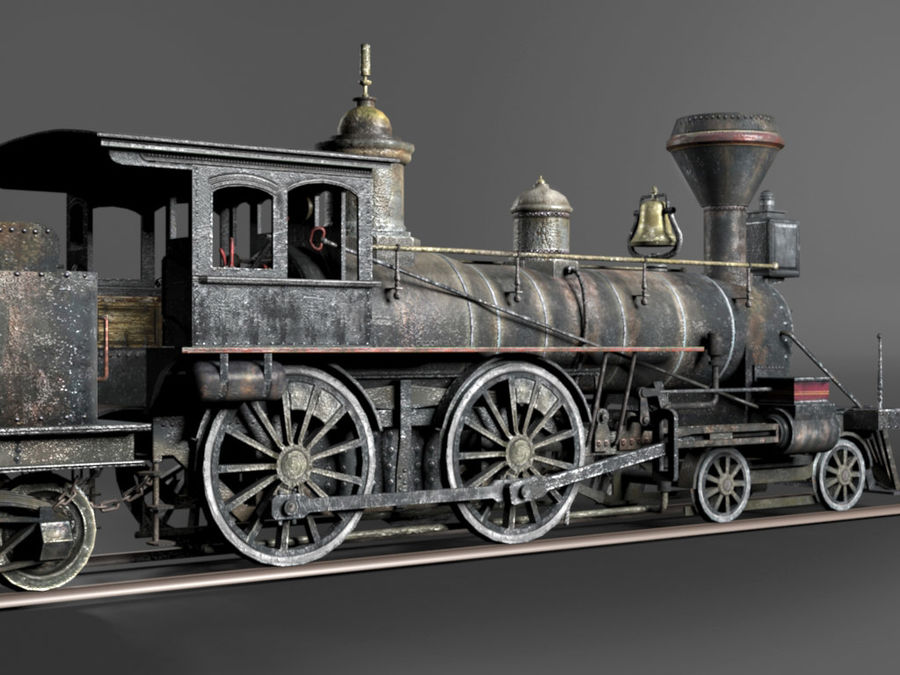 American Steam Locomotive Engine royalty-free 3d model - Preview no. 4