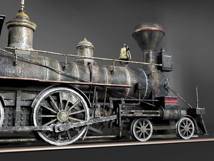 American Steam Locomotive Engine royalty-free 3d model - Preview no. 3