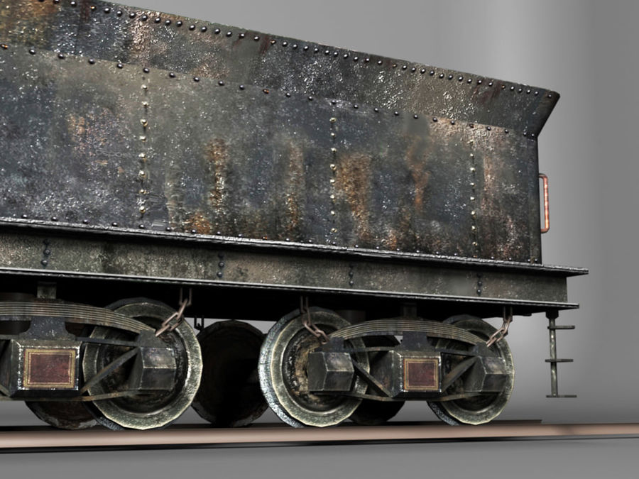 American Steam Locomotive Engine royalty-free 3d model - Preview no. 6