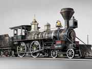 American Steam Locomotive Engine 3d model