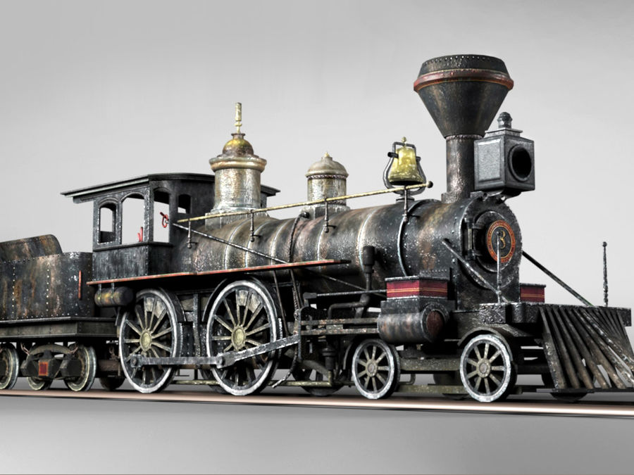 American Steam Locomotive Engine royalty-free 3d model - Preview no. 1