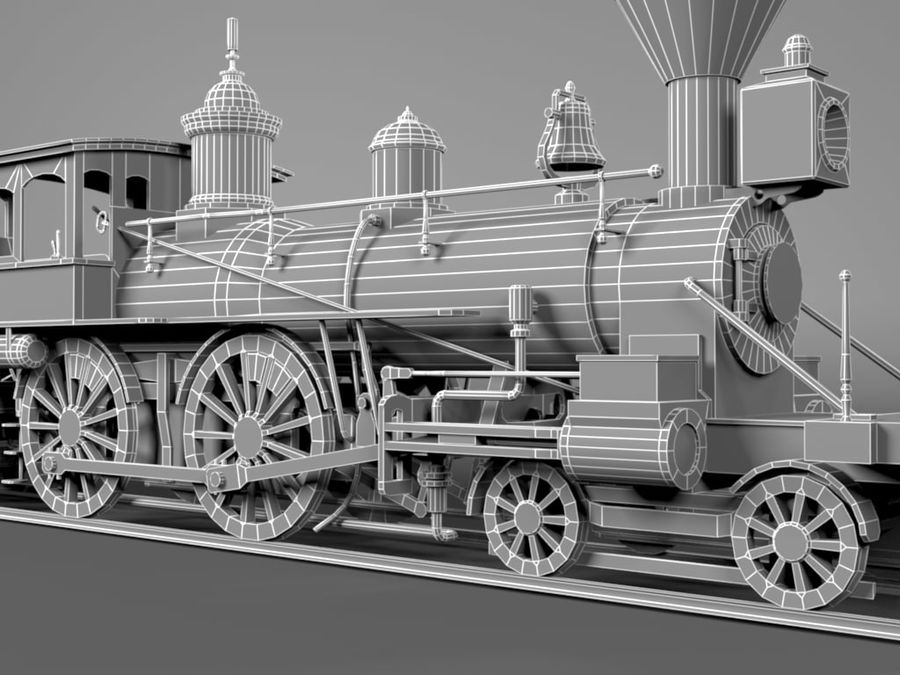 American Steam Locomotive Engine royalty-free 3d model - Preview no. 13