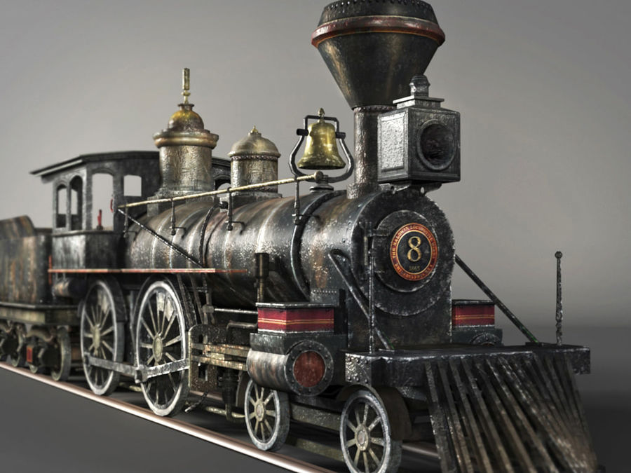 American Steam Locomotive Engine royalty-free 3d model - Preview no. 2