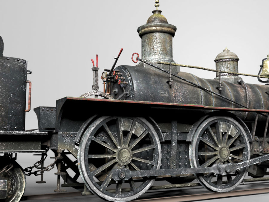 American Steam Locomotive Engine royalty-free 3d model - Preview no. 7