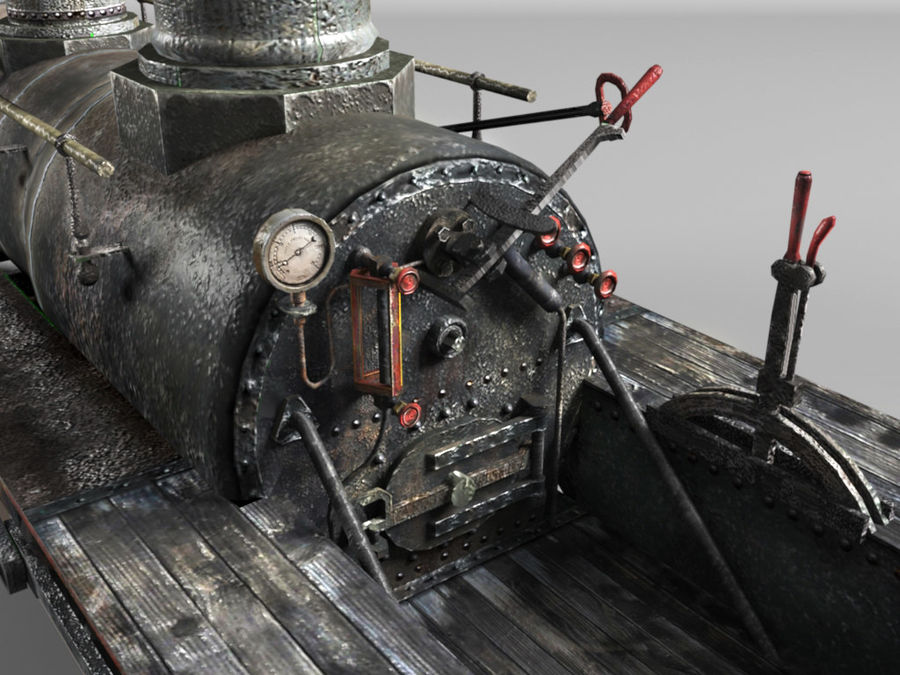 American Steam Locomotive Engine royalty-free 3d model - Preview no. 8