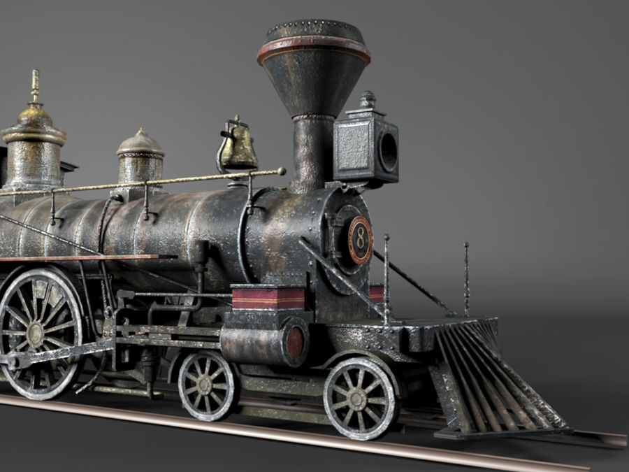 American Steam Locomotive Engine royalty-free 3d model - Preview no. 10