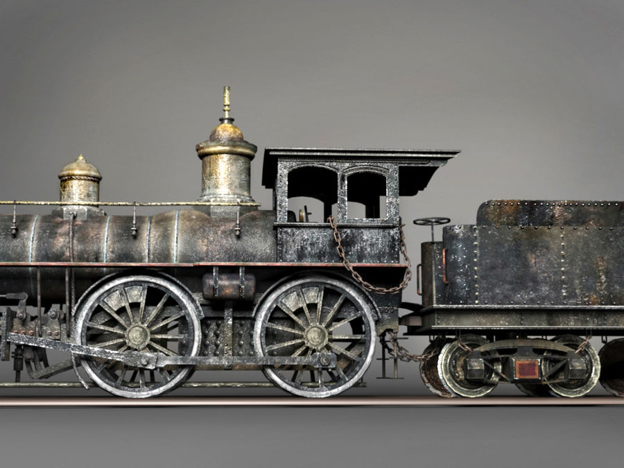 American Steam Locomotive Engine royalty-free 3d model - Preview no. 9