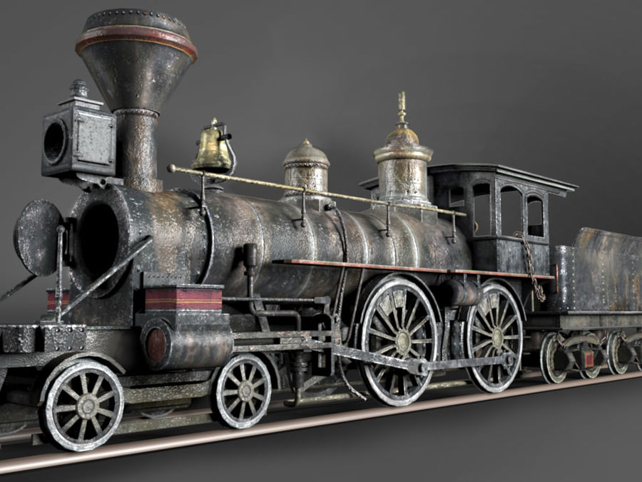 American Steam Locomotive Engine royalty-free 3d model - Preview no. 5