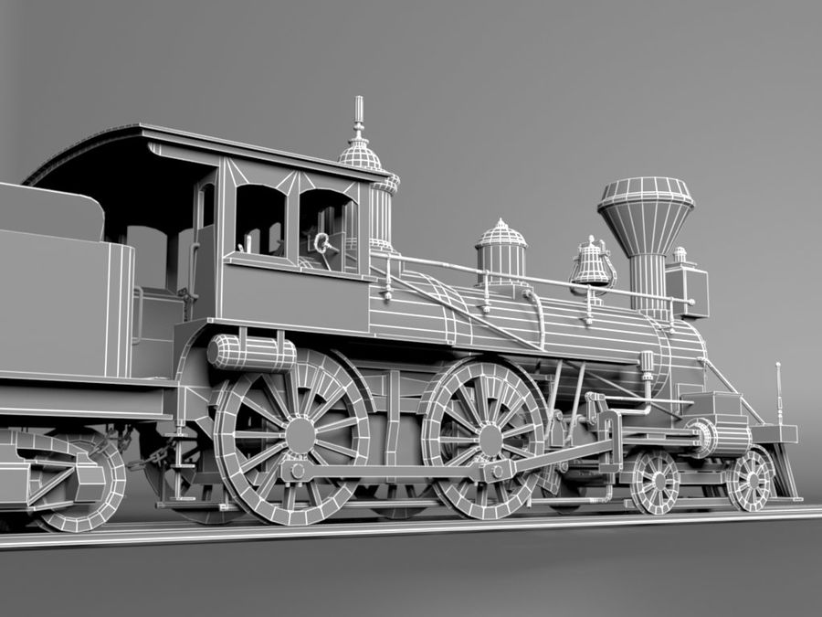 American Steam Locomotive Engine royalty-free 3d model - Preview no. 12