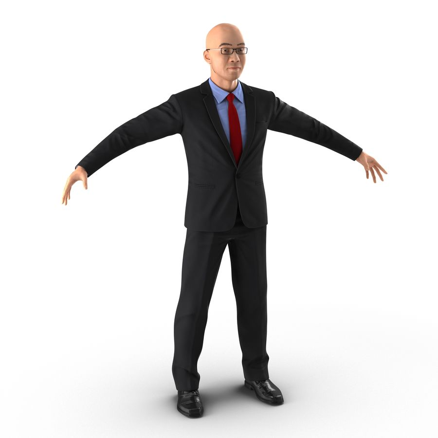 Asian Businessman 3D Model royalty-free 3d model - Preview no. 2