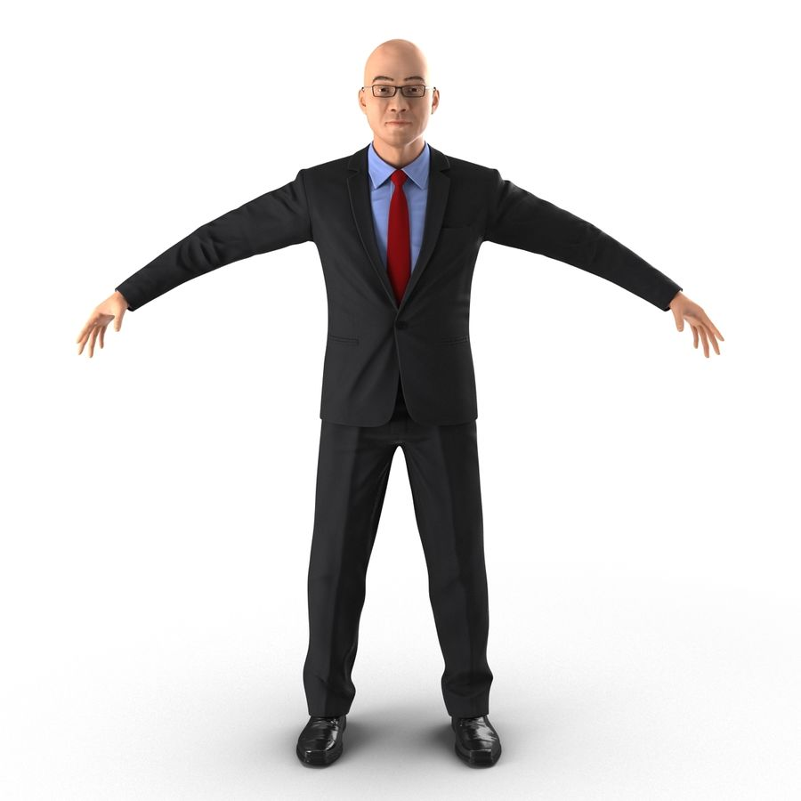 Asian Businessman 3D Model royalty-free 3d model - Preview no. 4