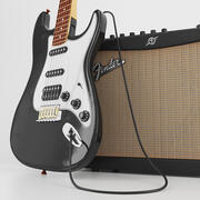 Electric Guitar With Amplifier 3d model