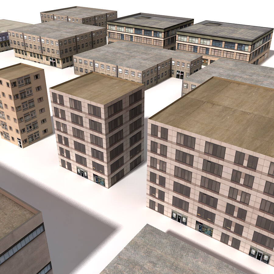Edificios urbanos de la ciudad royalty-free modelo 3d - Preview no. 21