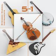 Strunowe instrumenty muzyczne 5 w 1 3d model