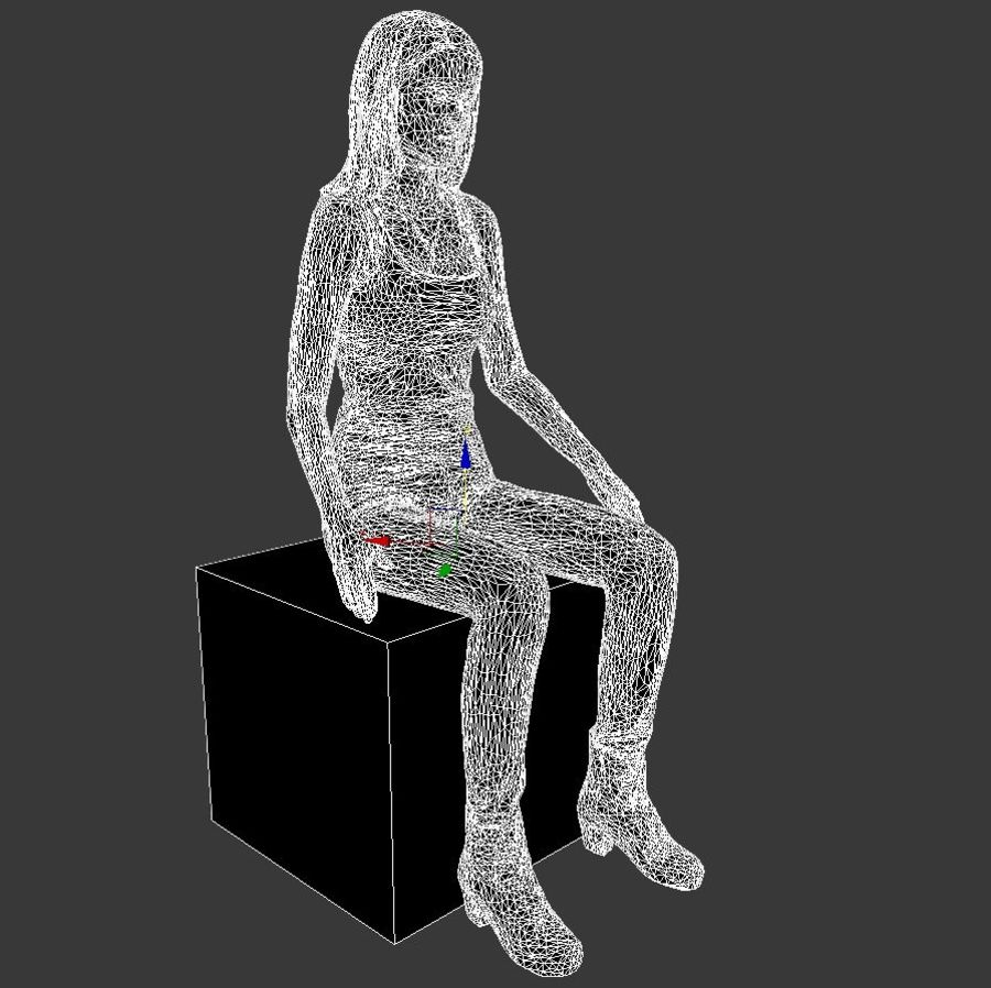 mujer_sit royalty-free modelo 3d - Preview no. 10