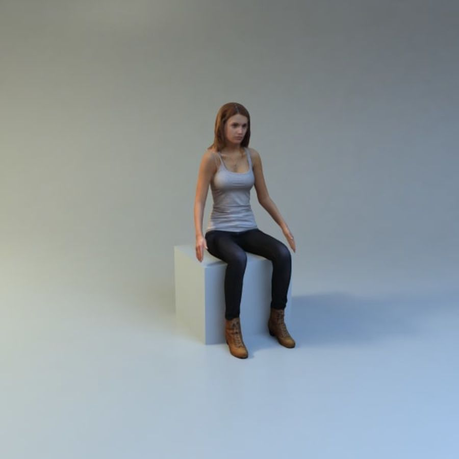 mujer_sit royalty-free modelo 3d - Preview no. 8