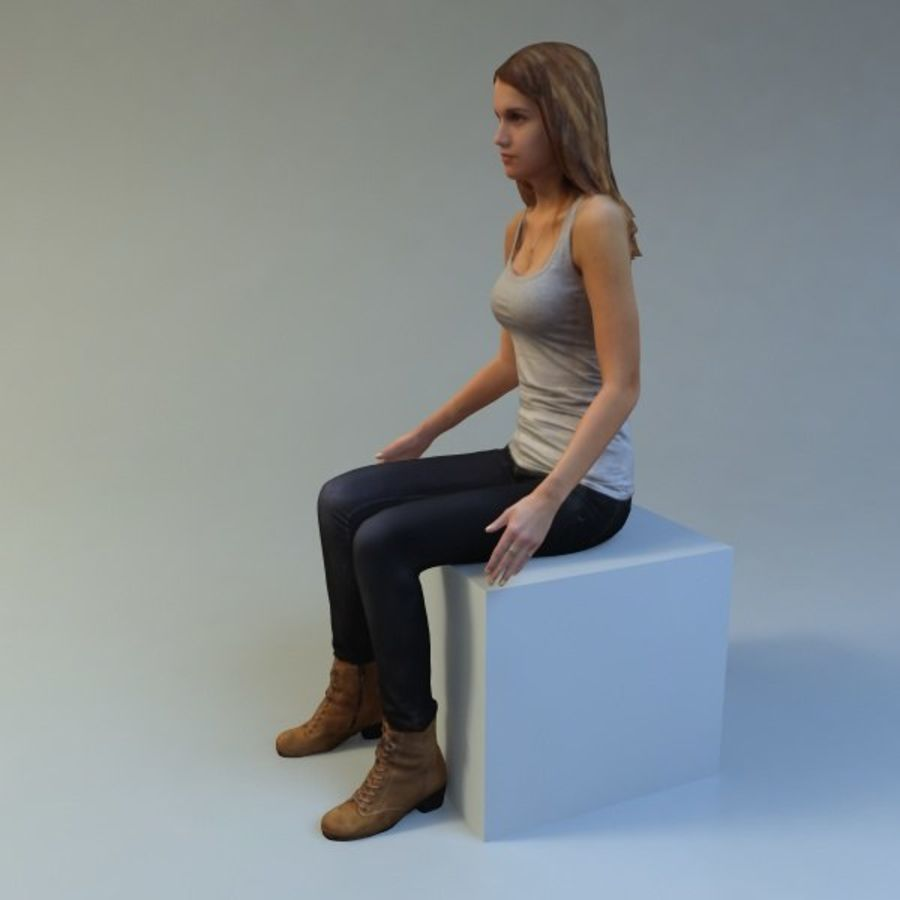mujer_sit royalty-free modelo 3d - Preview no. 6