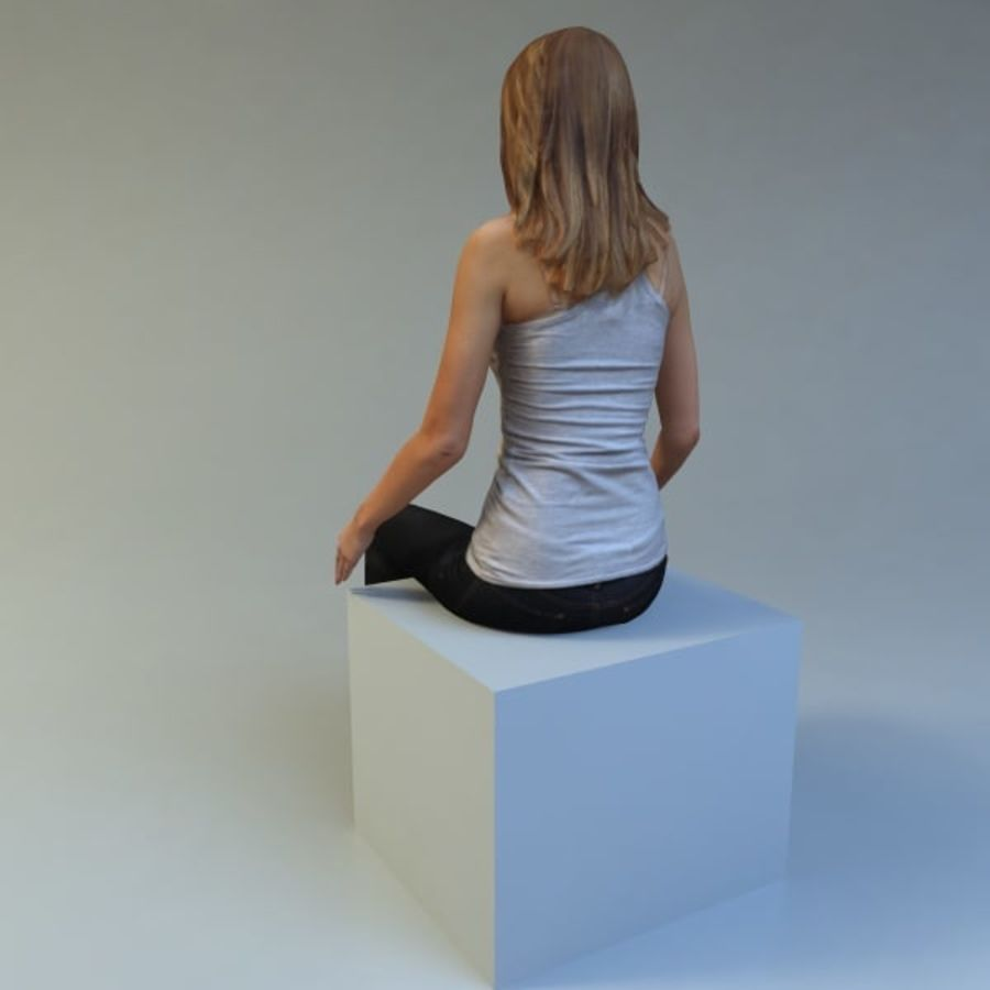 mujer_sit royalty-free modelo 3d - Preview no. 5