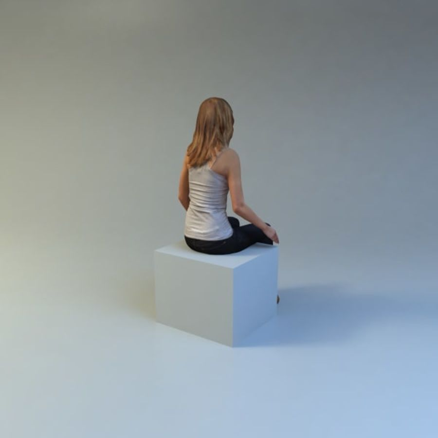 mujer_sit royalty-free modelo 3d - Preview no. 9