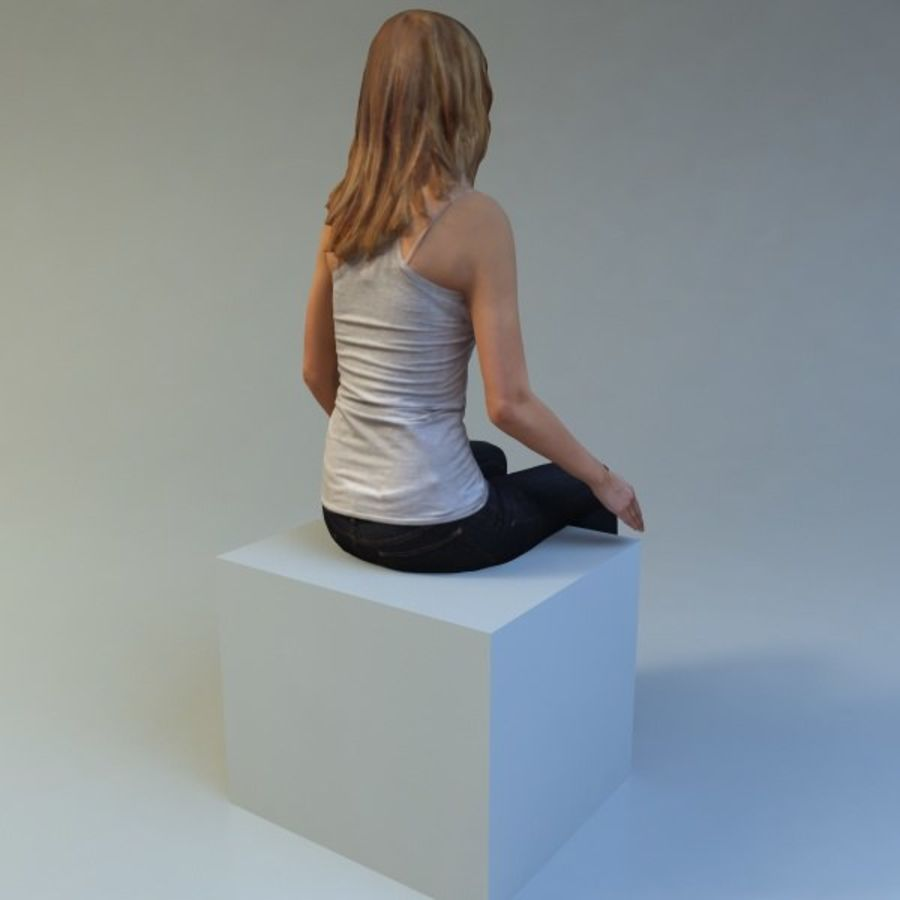 mujer_sit royalty-free modelo 3d - Preview no. 4