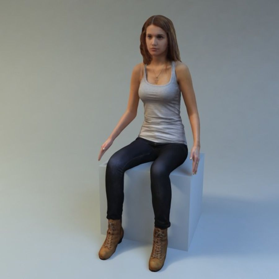 mujer_sit royalty-free modelo 3d - Preview no. 7
