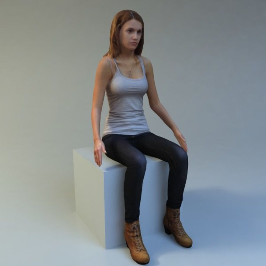mujer_sit royalty-free modelo 3d - Preview no. 2