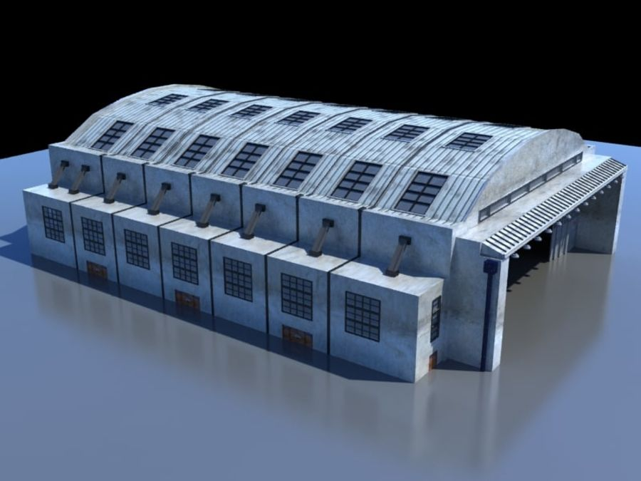 Ангар для технического обслуживания самолетов royalty-free 3d model - Preview no. 2