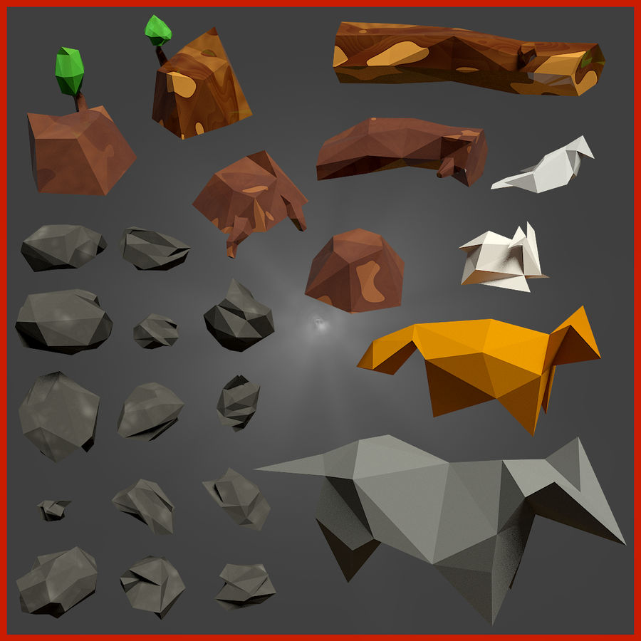Low-poly forest pack royalty-free 3d model - Preview no. 4