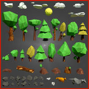 Low-poly forest pack 3d model