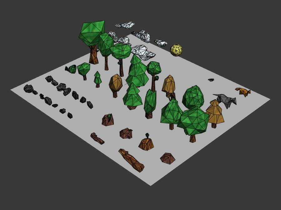 Low-poly forest pack royalty-free 3d model - Preview no. 6
