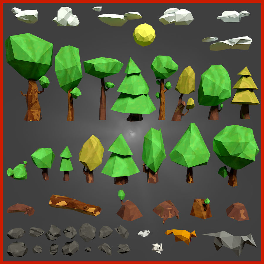 Low-poly forest pack royalty-free 3d model - Preview no. 1