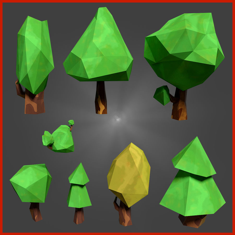 Low-poly forest pack royalty-free 3d model - Preview no. 3
