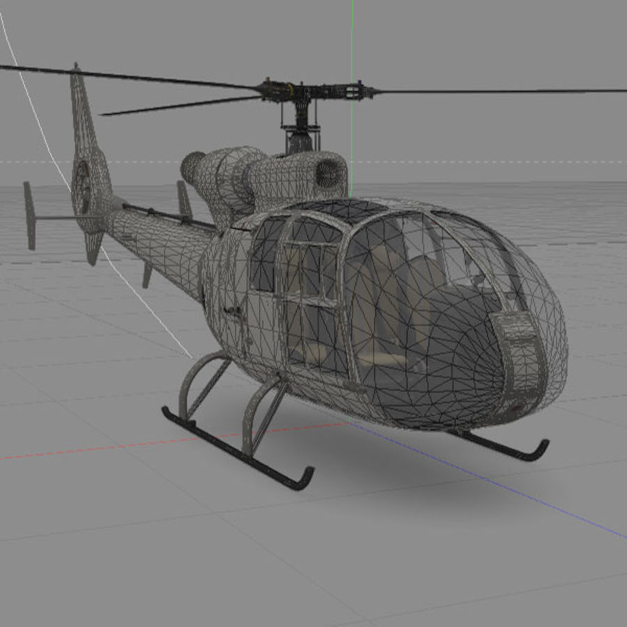 Aerospatiale Gazelle Helicopter royalty-free 3d model - Preview no. 2